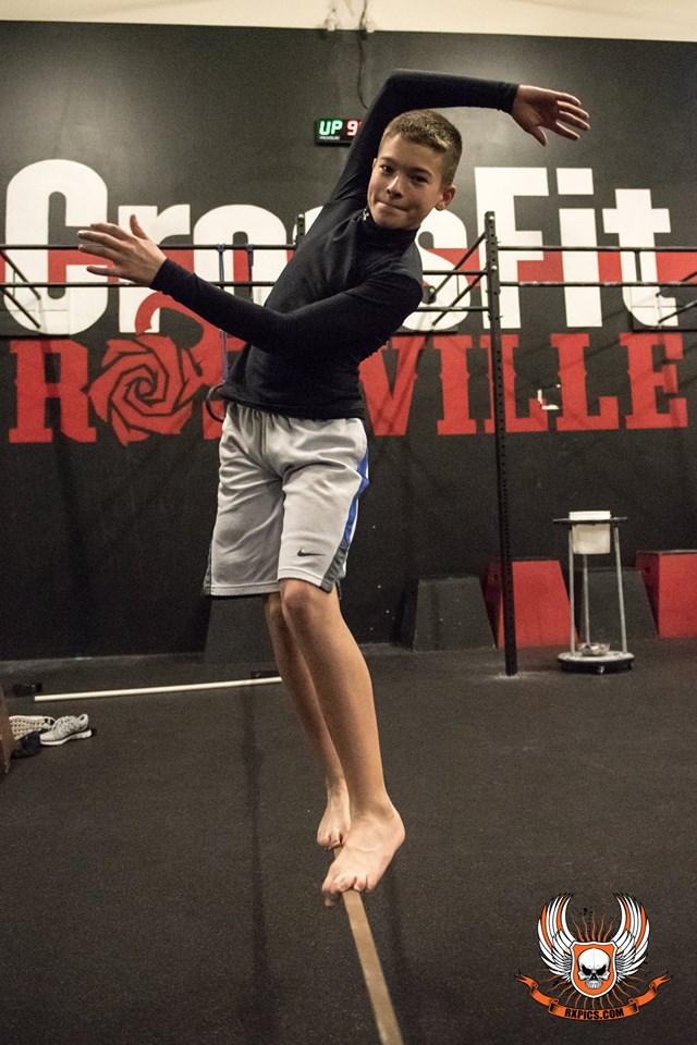 Michael Slacklining at Roseville crossfit