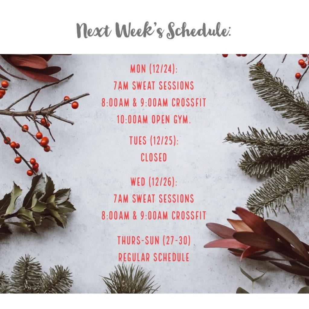 Next Week's Schedule